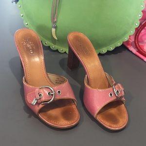 Vintage pink leather Coach heels Daryn style